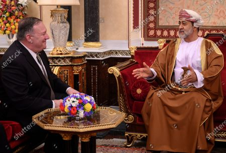 Oman's Sultan Haitham bin Tariq meets with US Secretary of State Mike Pompeo, left, at al-Alam palace in the capital Muscat, Oman. The new sultan, while quietly making his mark, faces real challenges ahead. Oman has billions in looming loan repayments, including from China, and needs even more money as its youthful population wants jobs and its government cannot afford the cradle-to-grave benefits given in other Gulf Arab nations