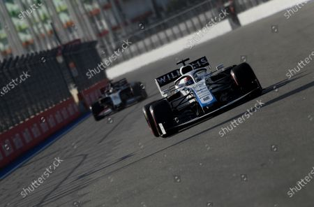 Williams driver George Russell of Britain steers his car during the second practice session for the upcoming Russian Formula One Grand Prix, at the Sochi Autodrom circuit, in Sochi, Russia, . The Russian Formula One Grand Prix will take place on Sunday
