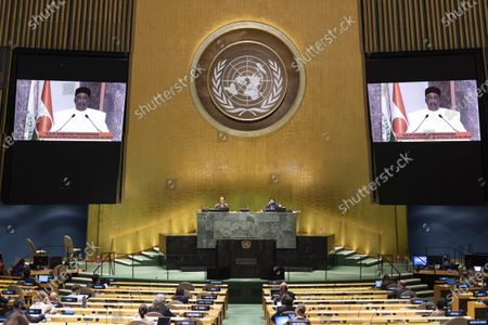 President of Niger Mahamadou Issoufou (on the screens) addresses the General Debate of the 75th session of the United Nations General Assembly via video at the UN headquarters in New York, on Sept. 24, 2020. The General Debate of the 75th session of the UN General Assembly entered the third day on Thursday.