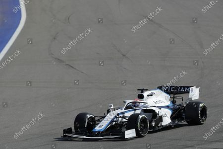 British Formula One driver George Russell of Williams in action during the  first practice session of the Formula One Grand Prix of Russia at the race track in Sochi, Russia 25 September 2020. The Formula One Grand Prix of Russia will take place on 27 September 2020.