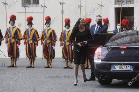 Polish President Andrzej Duda arrives with his wife Agata Kornhauser-Duda in the St. Damaso courtyard to meet with Pope Francis at the Vatican