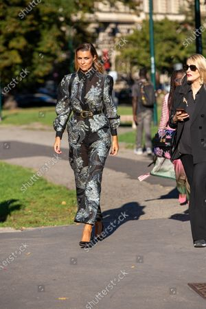 Stock Picture of Italy, Milan, Cristina Chiabotto, guest of the Alberta Ferretti fashion show photographed outside the fashion show, Milan fashion week September 2020