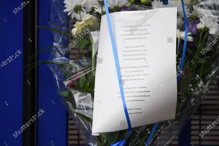 Stock Image of Floral tributes outside Croydon Custody Centre following the death of a police officer