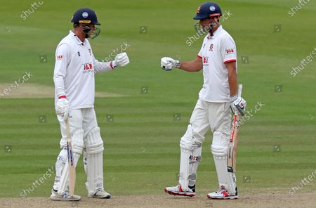 Tom Westley (left) congratulates Sir Alastair Cook (right) on scoring fifty runs during Somerset CCC vs Essex CCC, Bob Willis Trophy Final Cricket at Lord's Cricket Ground on 25th September 2020
