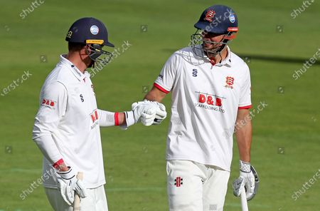 Tom Westley (left) and Sir Alastair Cook (right) of Essex leave the field for tea during Somerset CCC vs Essex CCC, Bob Willis Trophy Final Cricket at Lord's Cricket Ground on 25th September 2020