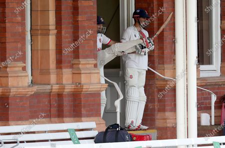 Sir Alastair Cook and Nick Browne of Essex wait to open the innings during Somerset CCC vs Essex CCC, Bob Willis Trophy Final Cricket at Lord's Cricket Ground on 25th September 2020