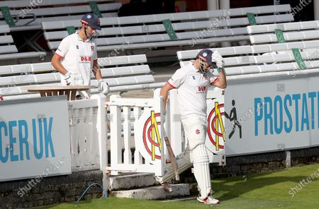 Nick Browne and Sir Alastair Cook of Essex take to the field during Somerset CCC vs Essex CCC, Bob Willis Trophy Final Cricket at Lord's Cricket Ground on 25th September 2020