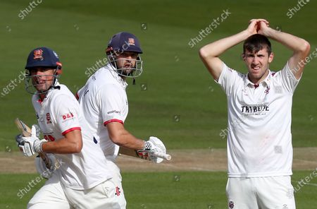 Sir Alastair Cook (left) and Nick Browne (centre) of Essex run quick singles as Craig Overton looks on during Somerset CCC vs Essex CCC, Bob Willis Trophy Final Cricket at Lord's Cricket Ground on 25th September 2020