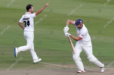 Lewis Gregory of Somerset celebrates taking the wicket of Nick Browne during Somerset CCC vs Essex CCC, Bob Willis Trophy Final Cricket at Lord's Cricket Ground on 25th September 2020