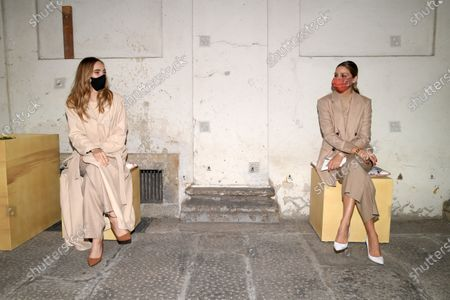 Stock Picture of Suki Waterhouse and Olivia Palermo socially distanced in the front row
