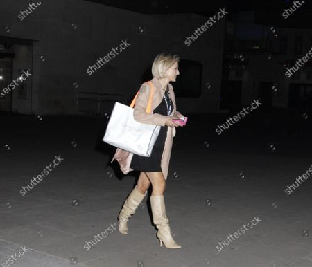 Stock Picture of Emily Maitlis going home after presenting The BBC News.