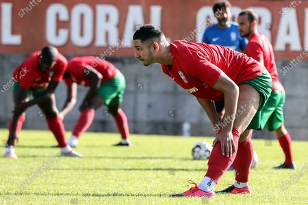 Stock Image of Maritimo's new player Faiq Jefri Bolkiah (front) attends his team's training session at the Santo Antonio Sports Complex in Funchal, Madeira Island, Portugal, 25 September 2020. Faiq Jefri Bolkiah is a prince, member of the Royal Bruneian family and nephew of Brunei's sultan, Hassanal Bolkiah. Faiq has spent his entire soccer career in England, starting at AFC Newbury, followed by clubs such as Southampton, Arsenal, Chelsea and Leicester City.
