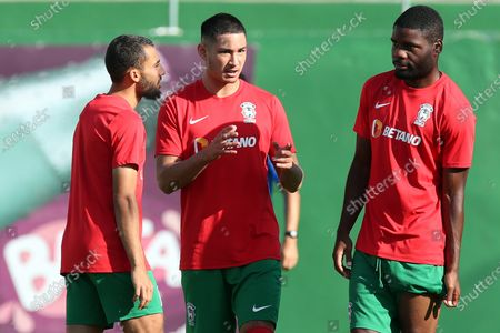 Maritimo's new player Faiq Jefri Bolkiah (C) attends his team's training session at the Santo Antonio Sports Complex in Funchal, Madeira Island, Portugal, 25 September 2020. Faiq Jefri Bolkiah is a prince, member of the Royal Bruneian family and nephew of Brunei's sultan, Hassanal Bolkiah. Faiq has spent his entire soccer career in England, starting at AFC Newbury, followed by clubs such as Southampton, Arsenal, Chelsea and Leicester City.