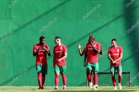 Stock Photo of Maritimo's new player Faiq Jefri Bolkiah (2-L) attends his team's training session at the Santo Antonio Sports Complex in Funchal, Madeira Island, Portugal, 25 September 2020. Faiq Jefri Bolkiah is a prince, member of the Royal Bruneian family and nephew of Brunei's sultan, Hassanal Bolkiah. Faiq has spent his entire soccer career in England, starting at AFC Newbury, followed by clubs such as Southampton, Arsenal, Chelsea and Leicester City.