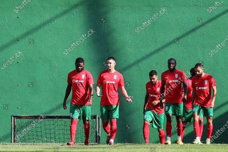 Maritimo's new player Faiq Jefri Bolkiah (2-L) attends his team's training session at the Santo Antonio Sports Complex in Funchal, Madeira Island, Portugal, 25 September 2020. Faiq Jefri Bolkiah is a prince, member of the Royal Bruneian family and nephew of Brunei's sultan, Hassanal Bolkiah. Faiq has spent his entire soccer career in England, starting at AFC Newbury, followed by clubs such as Southampton, Arsenal, Chelsea and Leicester City.