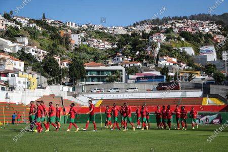 Maritimo's new player Faiq Jefri Bolkiah (6-L) attends his team's training session at the Santo Antonio Sports Complex in Funchal, Madeira Island, Portugal, 25 September 2020. Faiq Jefri Bolkiah is a prince, member of the Royal Bruneian family and nephew of Brunei's sultan, Hassanal Bolkiah. Faiq has spent his entire soccer career in England, starting at AFC Newbury, followed by clubs such as Southampton, Arsenal, Chelsea and Leicester City.