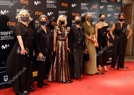 Tamara Falco (2-R), Spanish personalities Eugenio Martinez de Irujo (L), Rosa Tous (L), Laura Tous (2-L), Alba Tous (3-R) and Marta Tous (4-R) pose for the photographers before attending the projection of the documentary 'Oso' at 68th San Sebastian International Film Festival, in San Sebastian, Basque Country, northern Spain, 25 September 2020. The festival runs until 26 September.