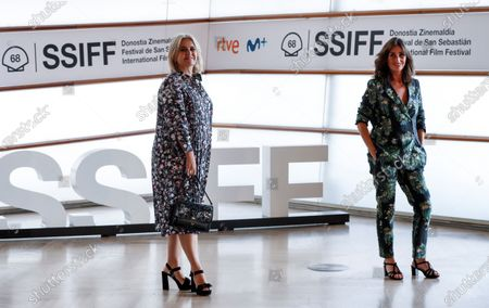 Film director Amanda Sans (R) and Tous jewelry brand Tous's President, Alba Tous (L) pose for the photographers during the presentation of the documentary 'OSO' (Bear) on the history of jewelry brand Tous, at the 68th annual San Sebastian International Film Festival (SSIFF), in San Sebastian, Spain, 25 September 2020. The film festival runs from 18 to 26 September 2020 under safety measures like obligatory face mask use and red carpets without public due to the Covid-19 coronavirus pandemic. Organizers have also reduced the number of film screenings as well as the seating capacity in cinemas.