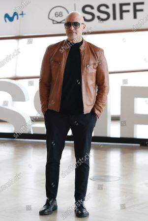 Roberto Alamo poses for the photographers during the presentation of the TV series 'Antidisturbios' in the framework of the 68th San Sebastian International Film Festival, at Kursaal Auditorium courtyard in Basque Country, northern Spain, 25 September 2020. The festival runs until 26 September.