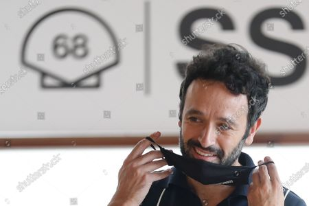 Rodrigo Sorogoyen poses for the photographers during the presentation of the TV series 'Antidisturbios' in the framework of the 68th San Sebastian International Film Festival, at Kursaal Auditorium courtyard in Basque Country, northern Spain, 25 September 2020. The festival runs until 26 September.