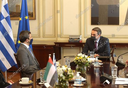 Greek Prime Minister Kyriakos Mitsotakis (R) speaks with the UAE Foreign Affairs Minister Sheikh Abdullah bin Zayed bin Sultan Al Nahyan (L) during their meeting in Athens, Greece, 25 September 2020. The talks will focus on enhancement of bilateral cooperation and on regional issues, with emphasis on current developments in the Eastern Mediterranean and the Middle East, energy cooperation, and EU-UAE relations.