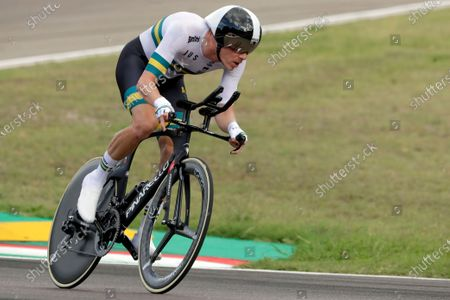 Australia's Rohan Dennis competes during the men's Individual Time Trial event, at the road cycling World Championships, in Imola, Italy