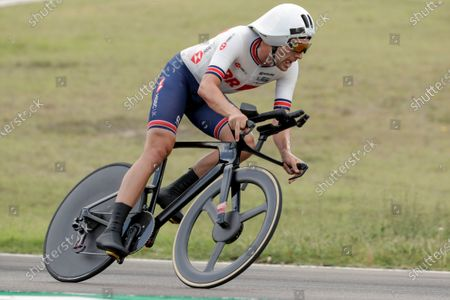Britain's Alex Dowsett competes during the men's Individual Time Trial event, at the road cycling World Championships, in Imola, Italy
