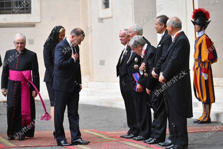 Polish President Andrzej Duda (3-L) and his wife Agata Kornhauser-Duda (2-L) arrive in the courtyard of St. Damasius at the Vatican City 25 September 2020. Pope Francis received the Polish President Andrzej Duda and his wife Agata Kornhauser-Duda in a private audience.