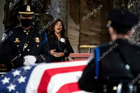 Opera singer Denyce Graves performs during a ceremony for Justice Ruth Bader Ginsburg as she lies in state in the U.S. Capitol on . Ginsburg died at the age of 87 on Sept. 18 and is the first women to lie in state at the Capitol