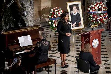 "Denyce Graves accompanied by Lauren Ward perform ""American Anthem"" during a ceremony to honor Justice Ruth Bader Ginsburg as she lies in state at National Statuary Hall in the U.S. Capitol on . Ginsburg died at the age of 87 on Sept. 18 and is the first women to lie in state at the Capitol"