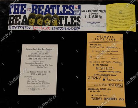 Beatles concert flyers are displayed at Sotheby's auction rooms in London, . This month Sotheby's will host a sale celebrating arguably the most influential band of all time: the Beatles, this sale will offer a fascinating array of objects spanning the entirety of the Beatles' performing career. With over sixty lots with estimates ranging from 500 to 40,000, UK pounds this sale offers fans and collectors old and new the chance to acquire a piece of pop culture history