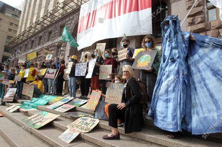 Redactionele afbeelding van Global Climate Strike in Kiev, Ukraine - 25 Sep 2020