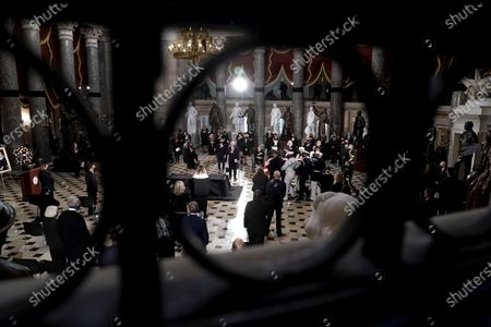 The remains of the late Justice Ruth Bader Ginsburg is carried by an honor guard before she lies in state at National Statuary Hall in the U.S. Capitol on Friday, September 25, 2020. Ginsburg died at the age of 87 on Sept. 18th and is the first women to lie in state at the Capitol.