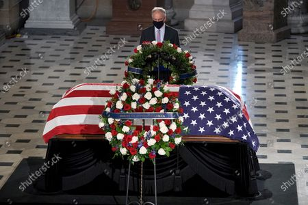 United States Senator Tim Kaine (Democrat of Virginia) pays his respects as the late Justice Ruth Bader Ginsburg lies in state at National Statuary Hall in the U.S. Capitol on Friday, September 25, 2020. Ginsburg died at the age of 87 on Sept. 18th and is the first women to lie in state at the Capitol.