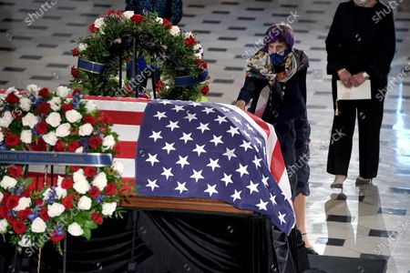 United States Representative Rosa DeLauro (Democrat of Connecticut) pays her respects as the late Justice Ruth Bader Ginsburg lies in state at National Statuary Hall in the U.S. Capitol on Friday, September 25, 2020. Ginsburg died at the age of 87 on Sept. 18th and is the first women to lie in state at the Capitol.