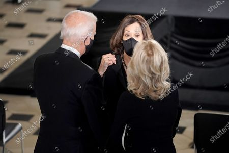 Democratic vice presidential candidate United States Senator Kamala Harris (Democrat of California) speaks to Democratic presidential candidate former US Vice President Joe Biden and his wife Dr. Jill Biden prior to for a ceremony to honor the late Justice Ruth Bader Ginsburg as she lies in state at National Statuary Hall in the U.S. Capitol on Friday, September 25, 2020. Ginsburg died at the age of 87 on Sept. 18th and is the first women to lie in state at the Capitol.