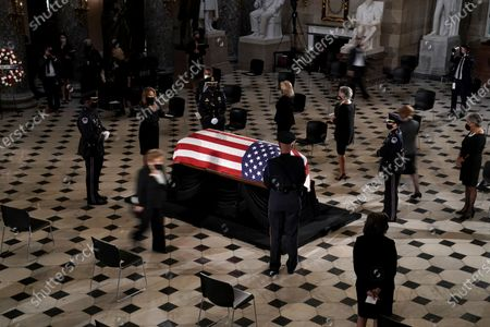 Rep. Veronica Escobar (D-Texas) pays her respects as the late Justice Ruth Bader Ginsburg lies in state at National Statuary Hall in the U.S. Capitol on Friday, September 25, 2020. Ginsburg died at the age of 87 on Sept. 18th and is the first women to lie in state at the Capitol.