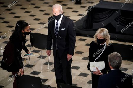 Democratic presidential candidate former United States Vice President Joe Biden arrives for a ceremony to honor the late Justice Ruth Bader Ginsburg as she lies in state at National Statuary Hall in the U.S. Capitol on Friday, September 25, 2020. Ginsburg died at the age of 87 on Sept. 18th and is the first women to lie in state at the Capitol.