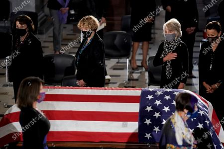 Current and former members of Congress pay their respects as the late Justice Ruth Bader Ginsburg lies in state at National Statuary Hall in the U.S. Capitol on Friday, September 25, 2020. Ginsburg died at the age of 87 on Sept. 18th and is the first women to lie in state at the Capitol.