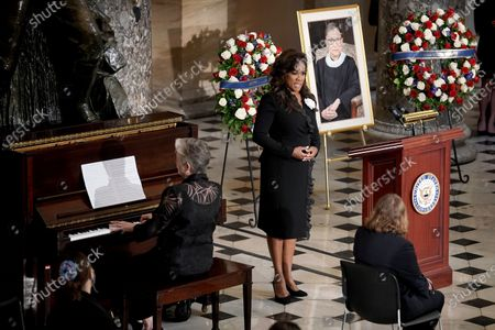 "Denyce Graves accompanied by Lauren Ward perform ""American Anthem"" during a ceremony to honor the late Justice Ruth Bader Ginsburg as she lies in state at National Statuary Hall in the U.S. Capitol on Friday, September 25, 2020. Ginsburg died at the age of 87 on Sept. 18th and is the first women to lie in state at the Capitol."