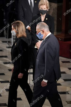 Speaker Nancy Pelosi (D-Calif.) and Senate Minority Leader Charles Schumer (D-N.Y.) arrive for a ceremony to honor the late Justice Ruth Bader Ginsburg as she lies in state at National Statuary Hall in the US Capitol in Washington, DC, USA, 25 September 2020. United States Supreme Court Justice Ruth Bader Ginsburg died on 18 September 2020 at the age of 87. Justice Ginsburg, also known as RBG, took office on 10 August 1993 after an appointment by then US President Bill Clinton. She was the oldest of the nine serving supreme court judges at the time of her death.