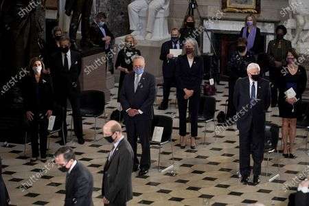 Speaker Nancy Pelosi (D-Calif.), Senate Minority Leader Charles Schumer (D-N.Y.) and House Majority Leader Steny Hoyer (D-Md.) are seen during a ceremony to honor the late Justice Ruth Bader Ginsburg as she lies in state at National Statuary Hall in the US Capitol in Washington, DC, USA, 25 September 2020. United States Supreme Court Justice Ruth Bader Ginsburg died on 18 September 2020 at the age of 87. Justice Ginsburg, also known as RBG, took office on 10 August 1993 after an appointment by then US President Bill Clinton. She was the oldest of the nine serving supreme court judges at the time of her death.