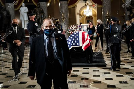 Stock Photo of Rep. Jerrold 'Jerry' Nadler (D-NY), leaves after paying his respects to the late Justice Ruth Bader Ginsburg lying in state in Statuary Hall of the Capitol in Washington, DC, USA, 25 September 2020. United States Supreme Court Justice Ruth Bader Ginsburg died on 18 September 2020 at the age of 87. Justice Ginsburg, also known as RBG, took office on 10 August 1993 after an appointment by then US President Bill Clinton. She was the oldest of the nine serving supreme court judges at the time of her death.