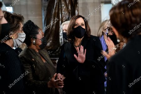 Democratic Vice Presidential Candidate Kamala Harris talks with fellow members of congress before the start of a ceremony for the late Justice Ruth Bader Ginsburg who is lying in state in Statuary Hall in the Capitol in Washington, DC, USA, 25 September 2020. United States Supreme Court Justice Ruth Bader Ginsburg died on 18 September 2020 at the age of 87. Justice Ginsburg, also known as RBG, took office on 10 August 1993 after an appointment by then US President Bill Clinton. She was the oldest of the nine serving supreme court judges at the time of her death.