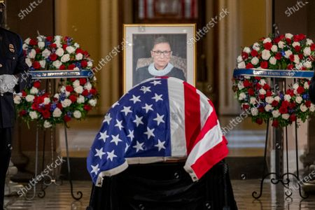 US Supreme Court Justice Ruth Bader Ginsburg lies in state in Statuary Hall in the US Capitol in Washington, DC, USA, 25 September 2020. Justice Ginsburg, the second woman to serve on the Supreme Court, is the first woman to lie in state at the US Capitol. United States Supreme Court Justice Ruth Bader Ginsburg died on 18 September 2020 at the age of 87. Justice Ginsburg, also known as RBG, took office on 10 August 1993 after an appointment by then US President Bill Clinton. She was the oldest of the nine serving supreme court judges at the time of her death.