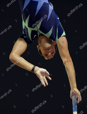 Stock Image of Renaud Lavillenie of France competes inthe men's pole vault at the IAAF Diamond League Doha 2020 athletics meeting at Qatar Sports Club in Doha, Qatar, 25 September 2020.