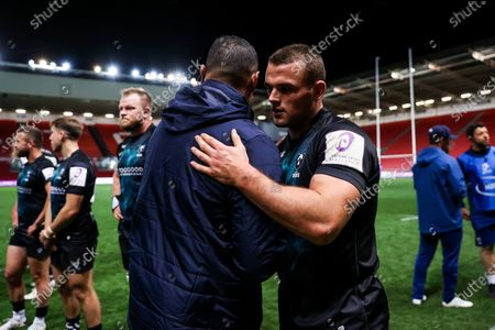 Bristol Bears Director of Rugby Pat Lam hugs Ben Earl as Bristol Bears win 37-20 after extra time to progress to a European Final