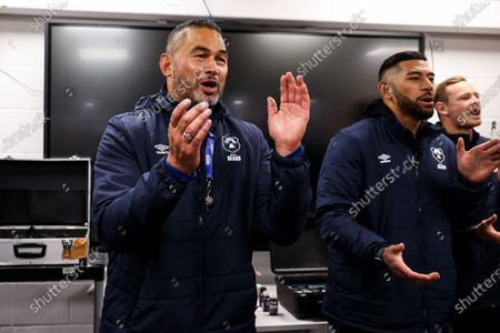 Bristol Bears Director of Rugby Pat Lam and Charles Piutau celebrate in the dressing room as Bristol Bears win 37-20 after extra time to progress to a European Final