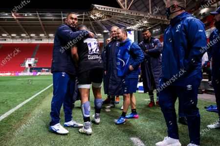 Bristol Bears Director of Rugby Pat Lam and Siale Piutau as Bristol Bears win 37-20 after extra time to progress to a European Final