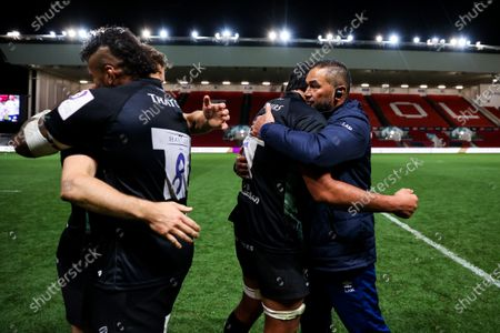 Bristol Bears Director of Rugby Pat Lam hugs Steven Luatua of Bristol Bears as Bristol Bears win 37-20 after extra time to progress to a European Final